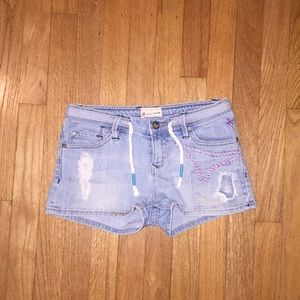 Roxy colorful distressed shorts